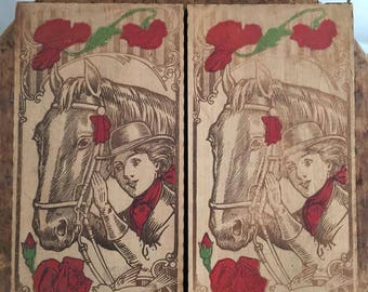 Vintage double panel Flemish Art Pyography wooden box with red roses, poppies and cowgirl