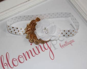 White Gold Heart Metallic Shabby Chic Newborn/Infant Flower Headband