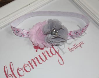 Pink and Gray Flower Shabby Chic Newborn/Infant Flower Headband
