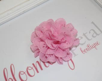 Pink Eyelet Flower Hair Clips