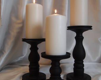 Flat Black Pillar Candle Holder Set of 3 - Lathe turned - Made in USA
