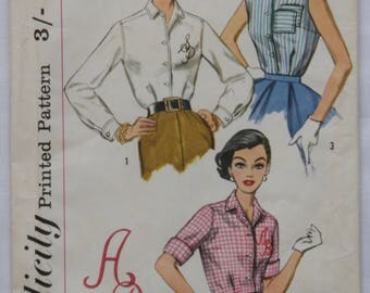 1950s Vintage Blouse Pattern Simplicity 2195 Retro Fashion Clothing Sewing