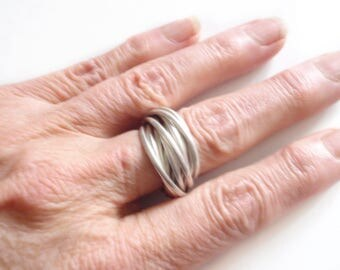 Multi Strand Silver Ring   12 Sterling Rolling Stacked Bands   Hipster    Boho   Middle