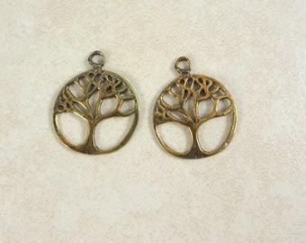 Tree of Life Charm, Tree of Life Pendant, Brass Tree of Life, Oxidized Brass Tree of Life, Antiqued Bronze Tree of Life