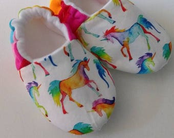 Rainbow Unicorn Slipper/Moccs, Crib Shoes, Toddler Moccs, Kid's Slippers, Soft Sole Women's Slippers, Baby Gift, Gift for Women