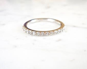 Diamond Engagement Ring - Diamond Engagement Band - Stacking Diamond Band - Stackable Ring - Made in the USA, Wedding Band, Stacking Ring