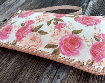 Rose Printed Leather Zippered Wristlet