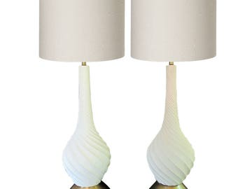 mid century modern bulb lamps pottery pair table lamp pair tall console set retro lamp modern