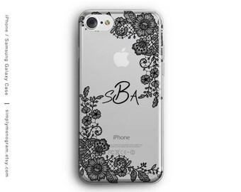 iPhone 7 Case, iPhone X Case, iPhone 6 Case, iPhone 8 Case, Initials, Monogram, iPhone 8 Plus Case, Galaxy S8 Case, Samsung Galaxy Case