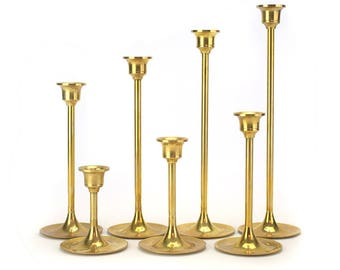 LOT 7 Vintage Brass Candlestick Candleholders - Tall Stem Gold Patina Tarnished Candle Holders Wedding Decor - Mid Century Hollywood Regency