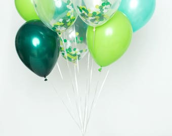 Confetti Balloon Set - In The Jungle - Shades of Green Confetti Balloon Bouquet - Jungle Party Balloons