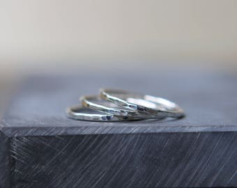 One Thin Sterling Silver Stacking Ring - Thin Band - Hammered Ring - Stackable Ring - Silver Stacking -  Polished Skinny Ring
