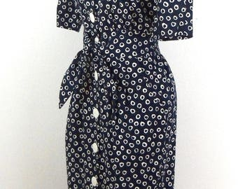 Vintage Button Up Sash Tie Dress // Size 7/8
