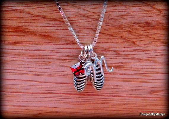 Sterling silver rib cage necklace, skeleton jewelry, birthstone necklace, personalized