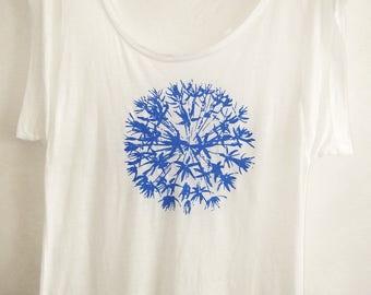 Allium flower Womens white summer top  bright blue print