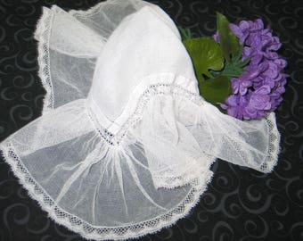 VTG Antique Embroidery Net Lace Handkerchief Hanky~Bridal-Flowers