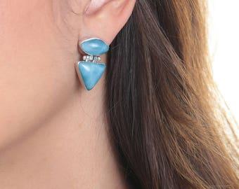 Blue Larimar Earrings, Penblue, Handmade Dominican Earings