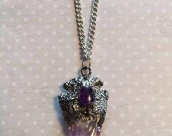 Natural Stone Necklace - Quartz Crystal - Quartz Necklace - Crystal Necklace - Arrowhead - Arrowhead Necklace - Amethyst Necklace - Purple