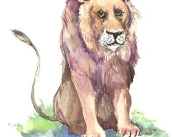 Lion children artwork wildlife  original watercolor painting, 8 x 10 in, animal art, animal painting, African animals SAHARA