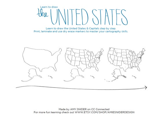 Learn To Draw The UNITED STATES Blob Map Style - Dry Erase Blank Us Map