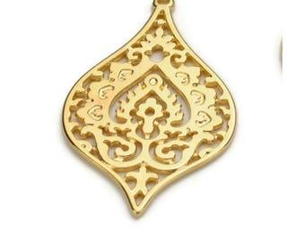 Beautiful Deco Drop Pendant - 24K Nickel Free Gold Plated - Qty. 1