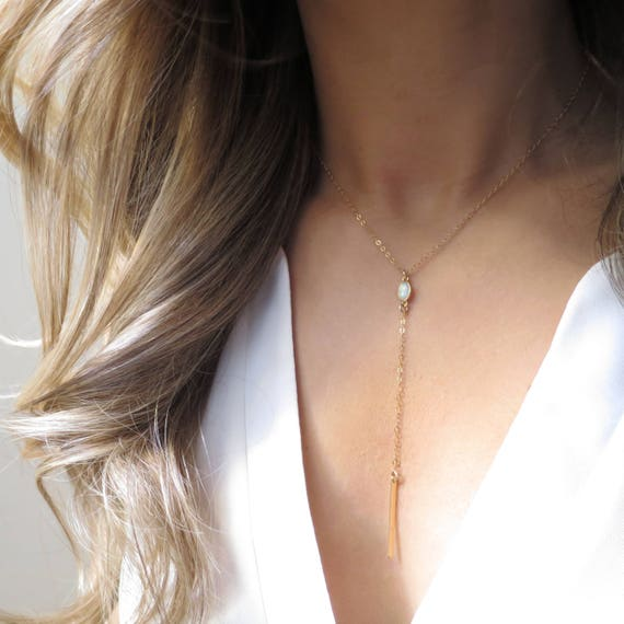 Opal Y Necklace