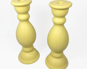 Pair of Painted Wood Farmhouse Candleholders, yellow decor, candlestick holders, tapered candle holders, wood candle holders (AT)