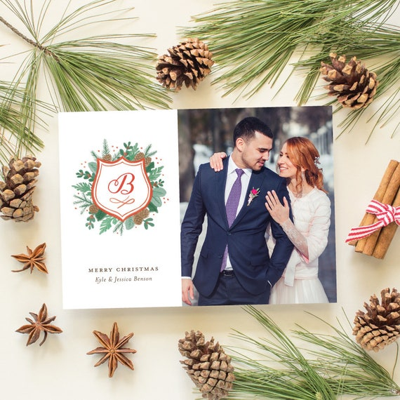 Newlywed Christmas Card with Watercolor Crest, Wedding Photo Cards for First Married Christmas, Watercolor Monogram Design | Christmas Crest