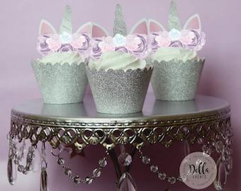 Unicorn Cupcake Topper, Unicorn cake, Unicorn Birthday, Unicorn Party, Unicorn Cake Topper, Unicorn head, Unicorn Decoration, Silver, Purple