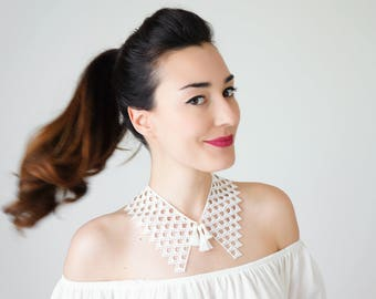 Peter Pan Collar Lace Collar White Collar Vintage Collar Tassel Necklace Gift For Her Sister Gift Bridal Collar Birthday Gift / SILLA