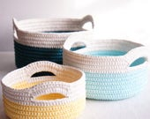 Sturdy Crochet Baskets with Handles - Stacking Set of 3 Crochet Baskets - JaKiGu Crochet Pattern