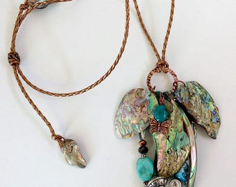 ADJUSTABLE ABALONE NECKLACE with Turquoise, Crystals on Metallic Bronze Cord