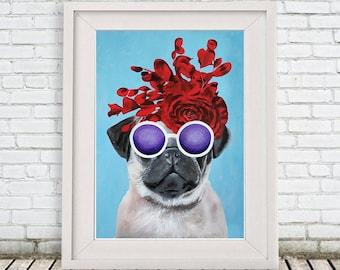 Pug Print, pug Illustration Art Poster Acrylic Painting Kids Decor Drawing Gift, pug with flowers, Frida Kahlo
