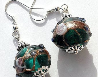 """Earrings Silver earrings with green and gold lampwork glass beads encrusted with small beads: """"Oriental"""""""