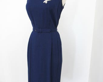 1950s Navy Blue Linen Wiggle Dress with Appliqués, Matching Short-sleeved Jacket & Belt