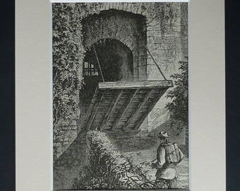 1880s Antique Manorbier Castle Print, Pembrokeshire Gift, Available Framed, Wales Art, Welsh Picture, Historic Decor Drawbridge Illustration