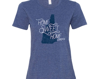 New Hampshire Home Sweet Home - State Pride Womens Ringspun T Shirt - Heather Blue