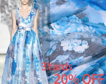 100% Pure Silk Blue Chiffon Fabric with Large Floral Print for Summer
