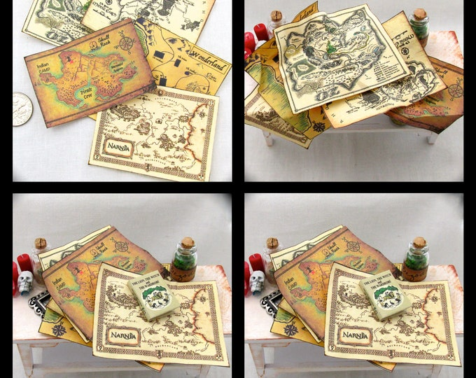 MYSTICAL MAGICAL MAPS (5) Miniature Dollhouse 1:12 Scale Wizard of Oz Peter Pan Narnia Alice in Wonderland Middle Earth Charts Geography