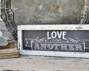 Love One Another Chalkboard Farmhouse Sign Wood Frame Chippy White Farmhouse  Decor Fixer Upper Decor