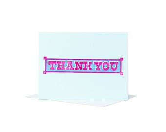 Thank You Greeting Card Letterpress Printed Typographic Design in Magenta & Blue Ink on Blue Paper with a White Envelope Made in Cleveland