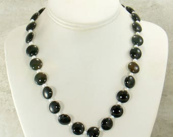 Onyx & Pearl Necklace, Handmade Statement Necklace, Onyx Gemstone Necklace, Bead Necklace, Black Jewelry Set, Fashion Necklace