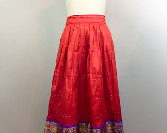 Vintage Ethnic Indian Orange and Purple Skirt Fit and Flare