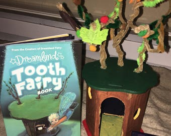 Multicolored Wooden Tooth Fairy Fort and book