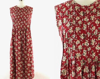 1990s floral print dress • 1990s red flowered dress • vintage Neiman Marcus dress • daisy print dress S/M