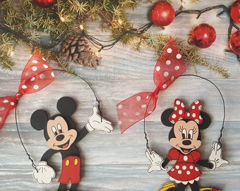 Mickey Mouse or Minnie Mouse Christmas Ornament, Disney Personalized Christmas Ornament
