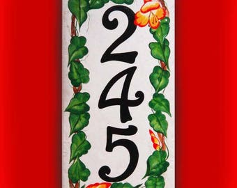 Vertical or horizontal floral vine address sign, Porcelain house numbers, Outdoor sign, Wreath house sign, Wall decor, Floral house plaque.