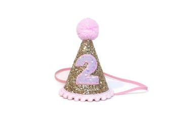 Birthday Hat Girl || Birthday Party Hat || First Birthday Hat | |Pink Girl Hat ||  1st Birthday Party Hat || Glitter Party Hat || Party Hat