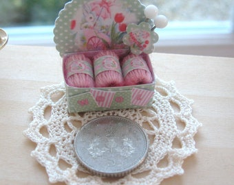 dollhouse wool box display shabby bunny pink   wool 12th scale miniature for sewing knitting shop