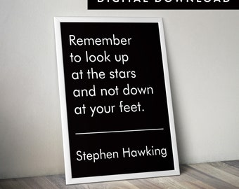 STEPHEN HAWKING QUOTE (Stephen Hawking Print, Stephen Hawking Poster, Downloadable Typographic Poster, Astronomy Print)
